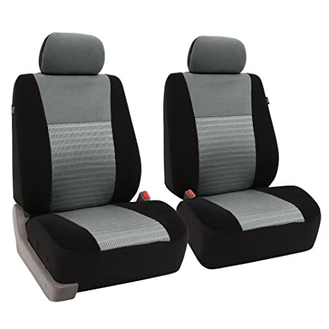 FH Group Universal Fit Full Set Trendy Elegance Car Seat Cover Gray Black FB060115 Airbag Compatible And Split Bench Most Truck Suv