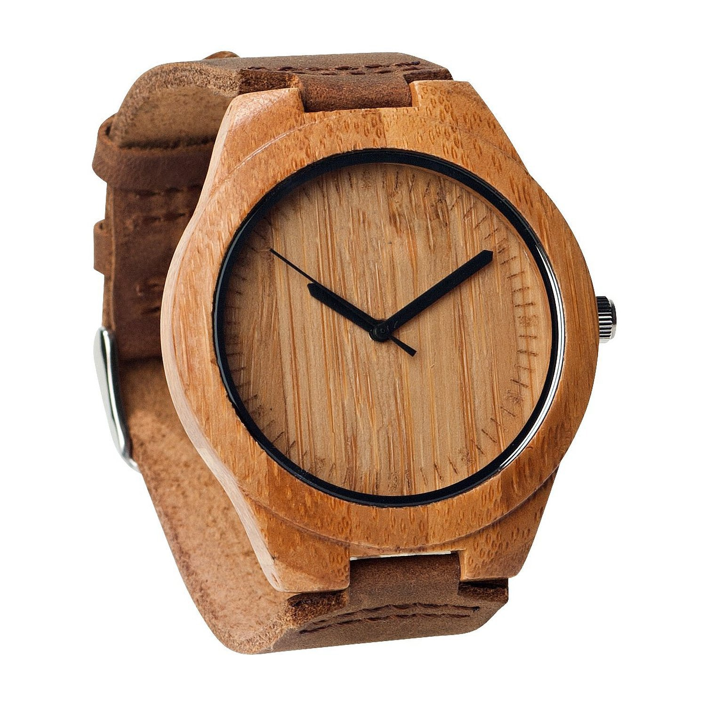 Unique Wooden Mens Watches with Genuine Leather Gift Quartz Wrist Watch (TW-1003)