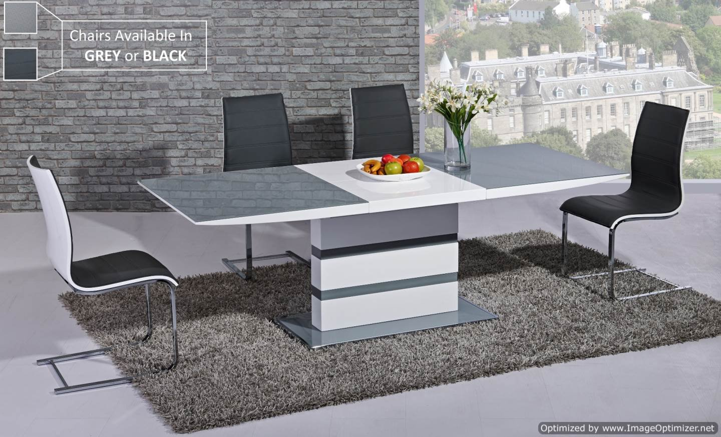 Furniture mill outlet arctic extending dining table in grey from giatalia extending function very stylish contemporary italian dining amazon co uk