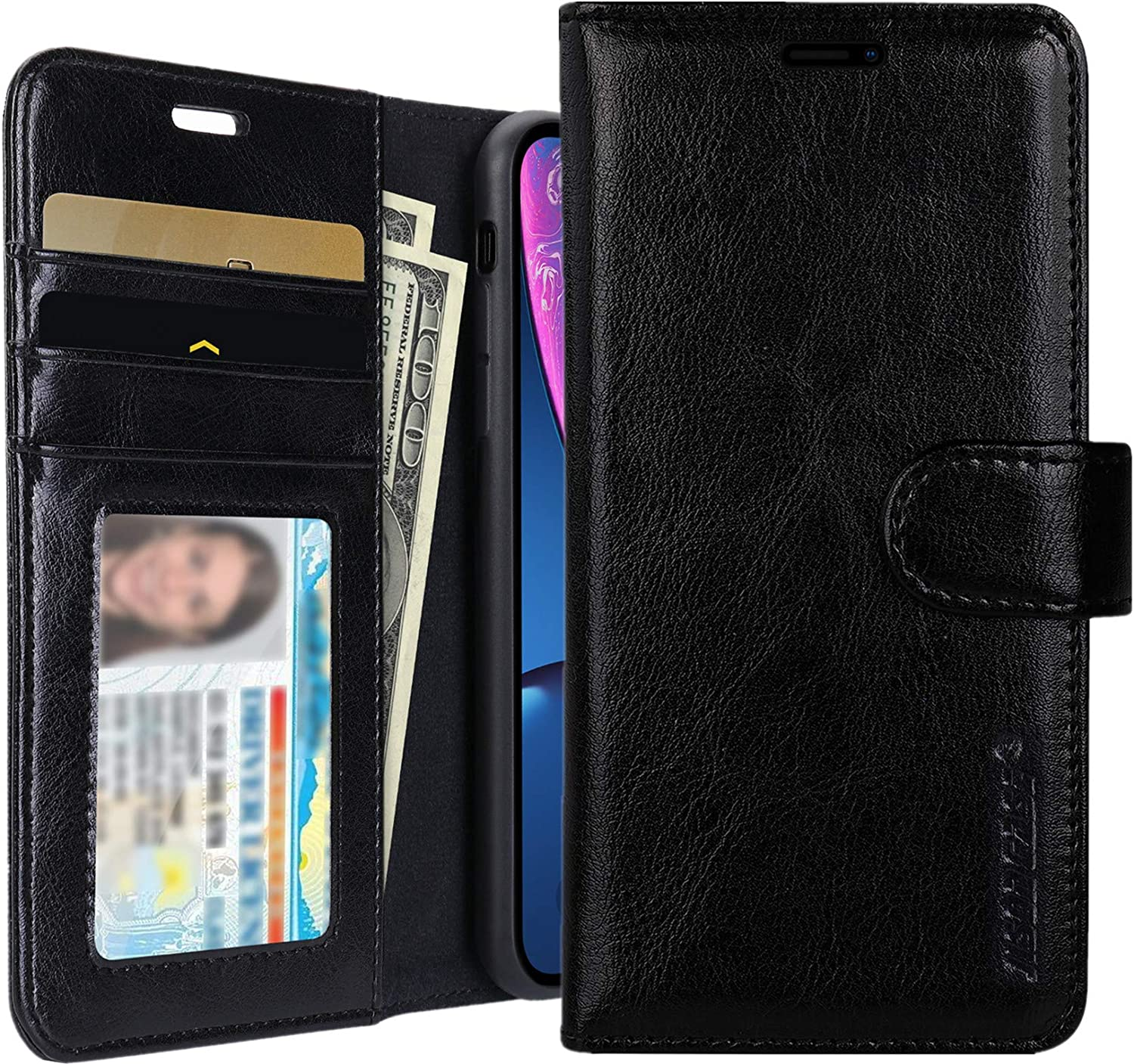 JISONCASE iPhone XR Wallet Case, Leather iPhone Xr Cases with Credit Card Holder Slot Magnetic Closure Shockproof Protective Flip Case for Apple iPhone XR 6.1 inch, Black