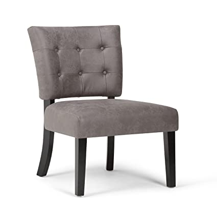 Surprising Simpli Home Axcchr 21 Br Greer 24 Inch Wide Contemporary Accent Chair In Warm Grey Faux Air Leather Forskolin Free Trial Chair Design Images Forskolin Free Trialorg