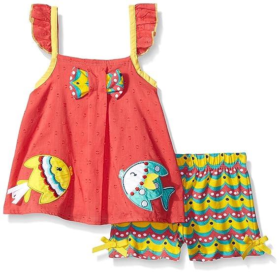 90efa7661a1e Amazon.com  Rare Editions Baby Girls  Fish Applique Short Set (3m ...