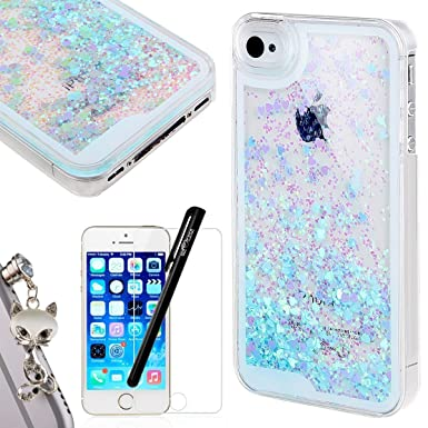 best service 6cf7b b4d7a iPhone 5 Case, WELOVECASE iPhone SE Case Glitter Bling Cover Flowing  Floating Liquid Swimming Plastic iPhone 5S Case Blue for Girls Clear Hard  Shell ...
