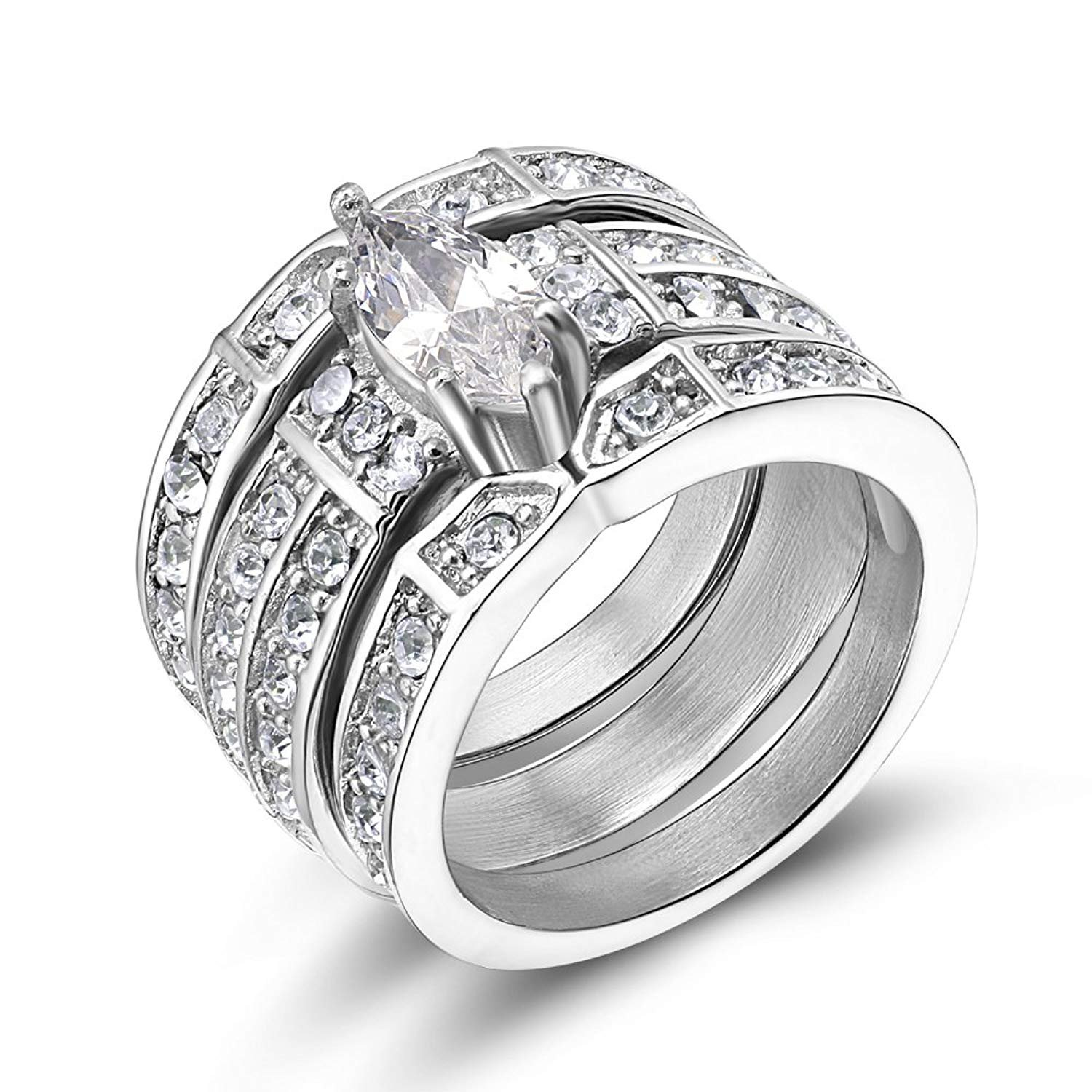 Stainless Steel Cubic Zirconia Wedding Ring Set Marquise Style for womens (9.5)