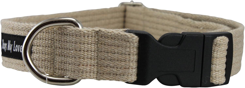 Large  Neck 16\ Cotton Web Adjustable Dog Collar 4 Sizes Beige (Large  Neck 16 -23 ; Width 1 )