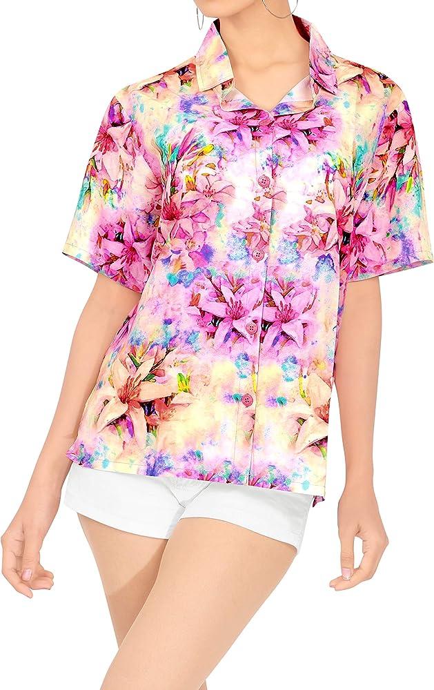 HAPPY BAY Playa de Las Mujeres Camisa Hawaiana de Manga Corta botón de Cuello Alto de Flores Hawaiana Impresa Multi_AA289 S - ES Tamaño :- 42-44: Amazon.es: Ropa y accesorios