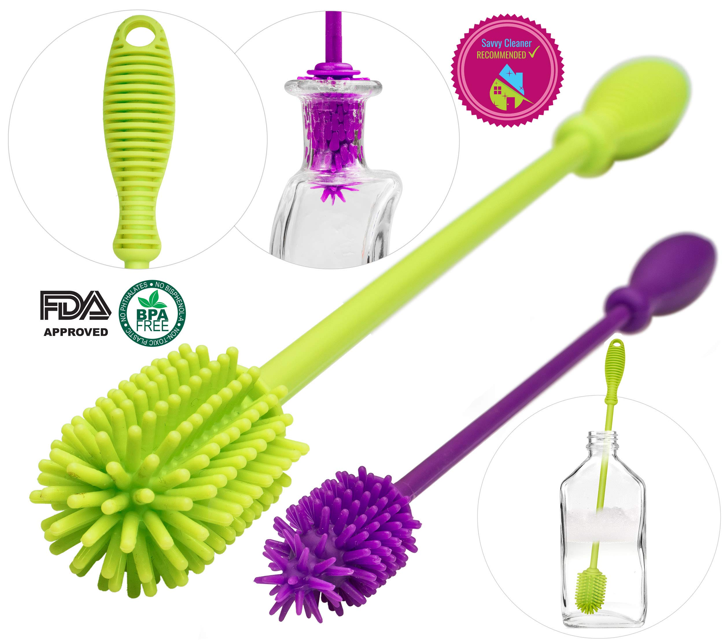A-Brush Silicone Bottle Brush Cleaner BPA Free - FDA Cert Long Handle Baby Bottle Cleaner Nipple Brush Ideal for Glass & Plastic Water Bottles Tumblers Hydro Flask (Set of 2pcs Green/Purple) by A2S Protection