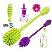 A-Brush Silicone Bottle Brush Cleaner BPA Free - FDA Cert Long Handle Baby Bottle Cleaner Nipple Brush Ideal for Glass & Plastic Water Bottles Tumblers Hydro Flask (Set of 2pcs Green/Purple)