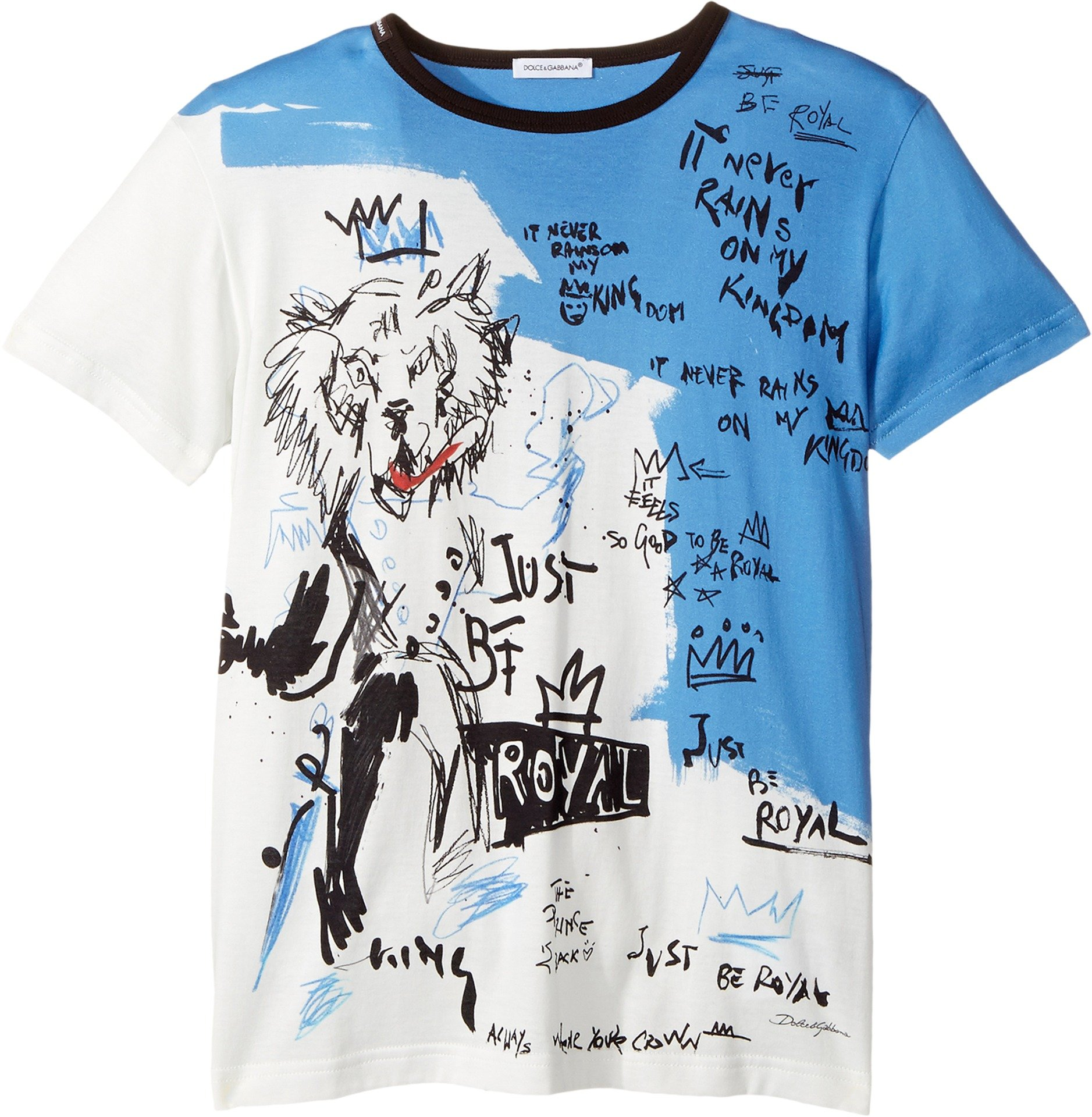 Dolce & Gabbana Kids  Boy's Just Be Royal T-Shirt (Big Kids) Blue T-Shirt by Dolce & Gabbana