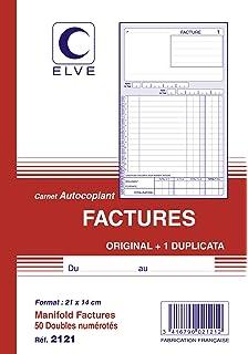 Elve 19548 Manifold autocopiant Facture 210 x 297 mm 40 Feuilles