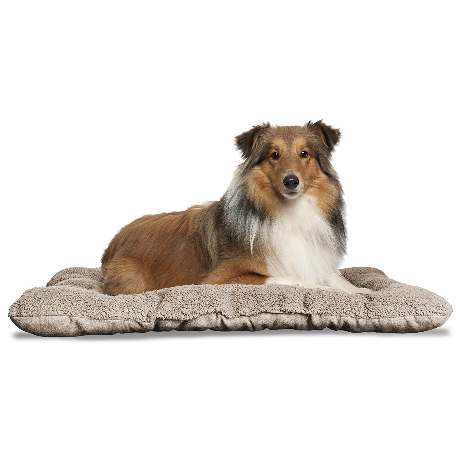 FurHaven Pet Kennel Pad   Reversible Terry & Suede Pet Tufted Pillow Dog Bed for Crates & Kennels, Clay, Large