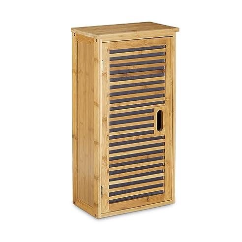 Relaxdays Badezimmer Hängeschrank aus Bambus, 2 Ablagen mit ... | {Badschrank bambus 36}