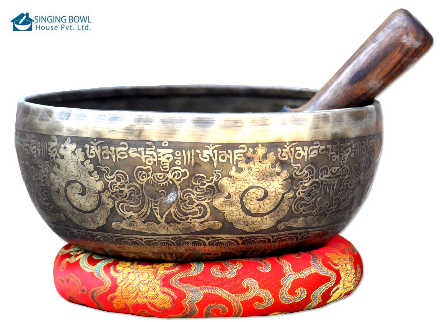 9''Fine Etching Hand made singing bowl with cushions and Mallet,Real handmade singing bowl from Nepal,healing bowls