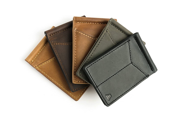 Front Pocket Minimalist Card Holder RFID Blocking Wallet Andar Mens Leather Money Clip The Baron