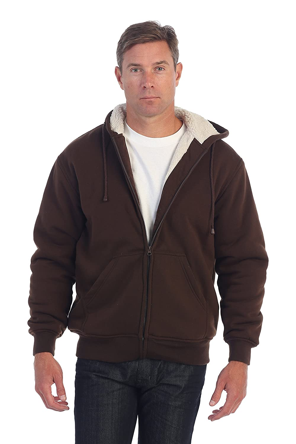 Gioberti Mens Sherpa Lined Pull Zip Fleece Hoodie Jacket China FH96