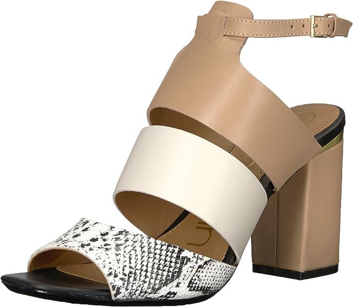 0959556447b Calvin Klein Women s Caran Heeled Sandal Black White Snake 5.5 Medium US