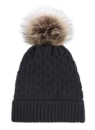 cb88303dbdb55 LRKC Women Winter Faux Fur Pompom Knit Sherpa Lined Beanie Hat ...