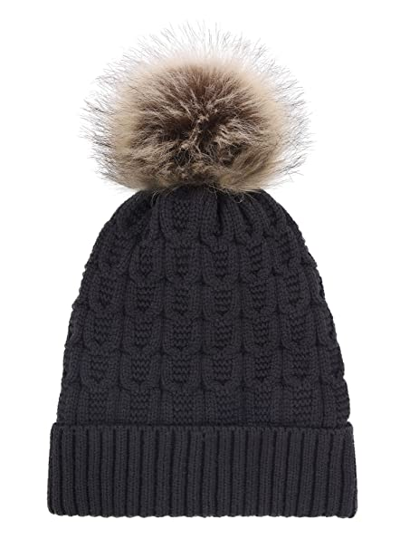 82a165107 Arctic Paw Sherpa Lined Knit Beanie with Faux Fur Pompom