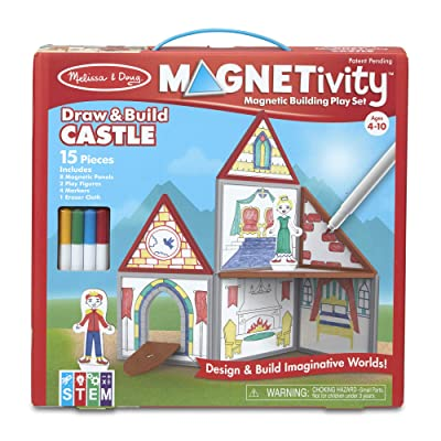 Melissa & Doug Magnetivity Magnetic Tiles Building Play Set – Draw & Build Castle (15 Pieces, 8 Panels, 4 Dry-Erase Markers): Toys & Games