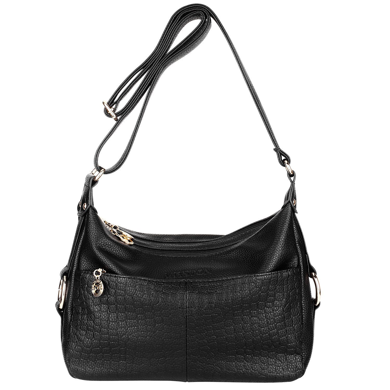 Women's Leather Shoulder Handbags Cross Body Bags Hobo Bag Satchel and Purse for Ladies (Black)