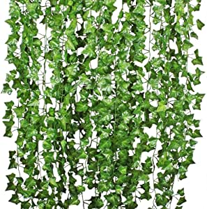Giftale 168 Feet 24 Strands Artificial Ivy Leaf Plants Vine Hanging Garland Foliage Flowers Home Kitchen Garden Office Wedding Wall Decor, Green