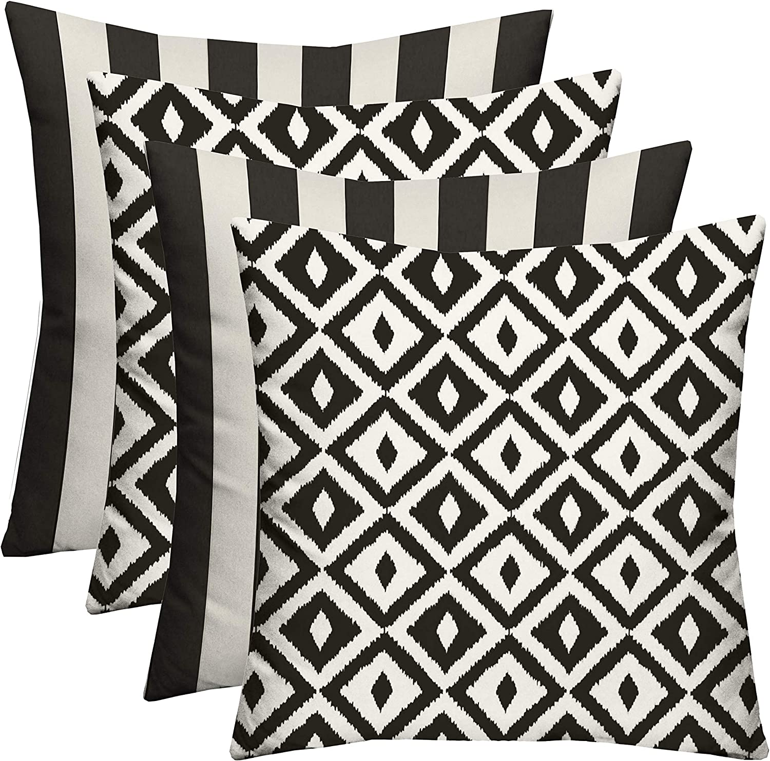Set of 4 - Indoor / Outdoor Square Decorative Throw / Toss Pillows - Black and White Stripe Fabric & Black and White Aztec Geometric Fabric - Choose Size (20