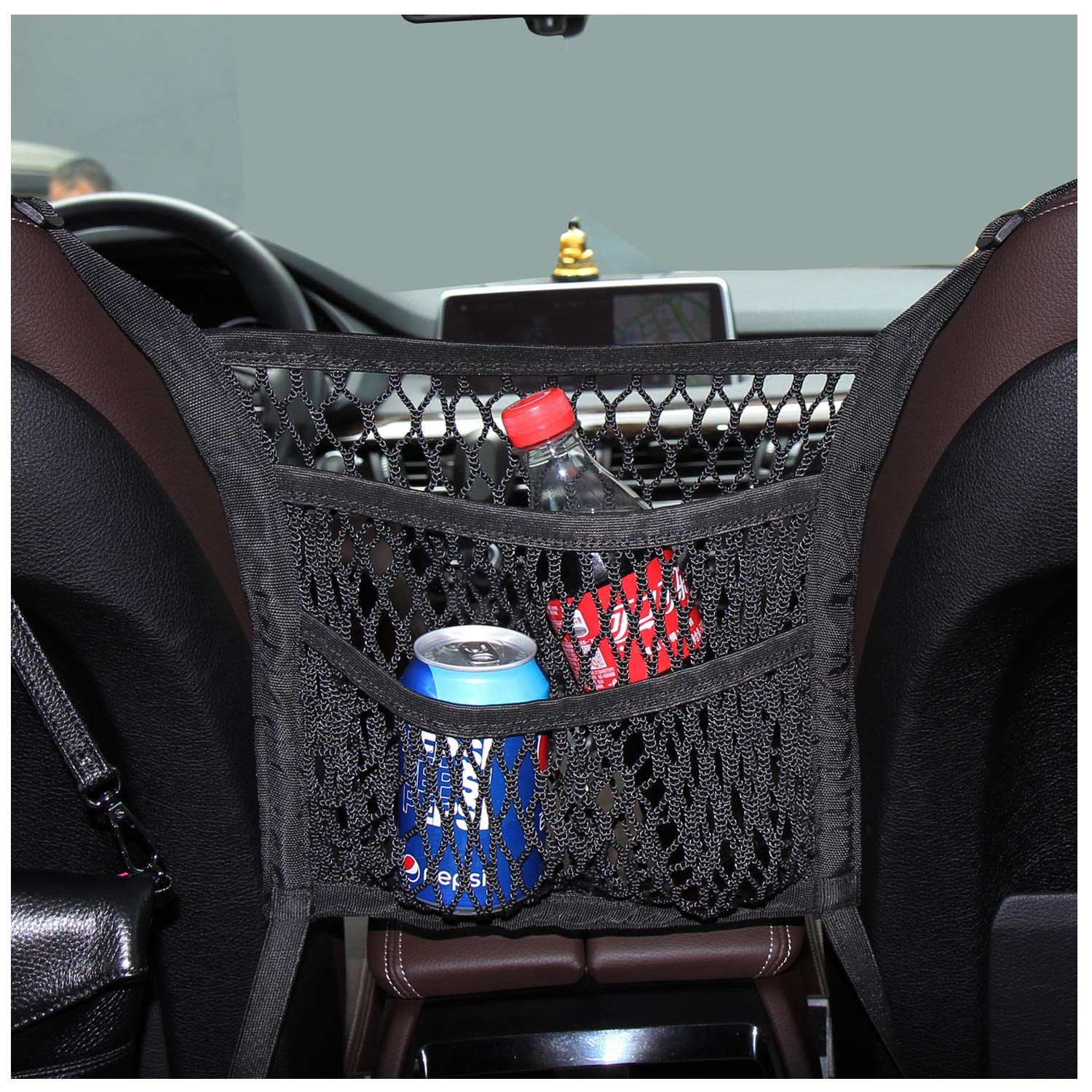 PU Leather Hanging Storage Bag Between Car Seats for Vehicle Durable Car Seat Storage and Handbag Holding Net eing Car Net Pocket Handbag Holder Car Seat Organiser
