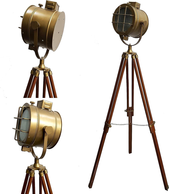 Vintage Marine LED Tripod Floor Lamp Antique Searchlight Wooden Adjustable Stand Retro Studio Spotlight Focus Lamps Home & Office Decorative Lighting