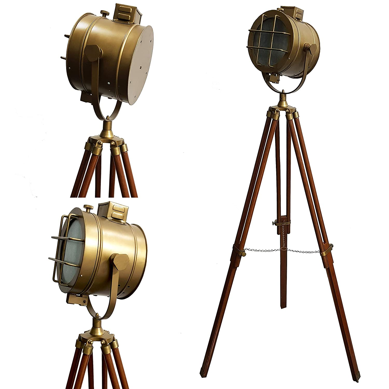 Nautical Spot Search Light WIithTripod Stand ヴィンテージフロアランプ アンティークヘッドシーチライト B07PSJC6Z3