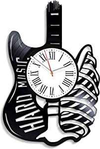 Kovides Hard Music Wall Clock Minimalist Decor for Living Room Xmas Gift for Boys Hard Music Vinyl Clock Vintage Vinyl Record Clock Hard Rock Music Home Decor Birthday Gift for Fan