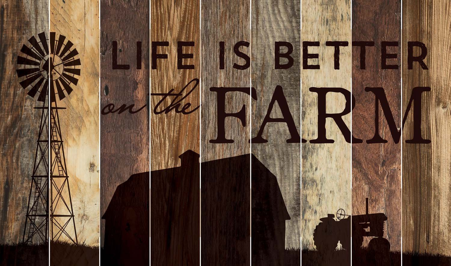 Life is Better on the Farm Silhouette Design 28 x 47 Wood Large Barn Board Wall Art Sign Plaque by P Graham Dunn