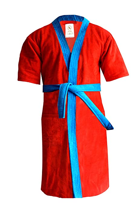 Loomkart Very Fine Export Quality Bath Robes in Red with Blue in Very Soft  Velvet Finish 61baafd49