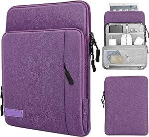 MoKo 9-11 Inch Tablet Sleeve Bag Carrying Case with Storage Pockets Fits iPad Pro 11 2021/2020/2018, iPad 8th 7th Generation 10.2, iPad Air 4 10.9, iPad 9.7, Galaxy Tab A 10.1 - Purple
