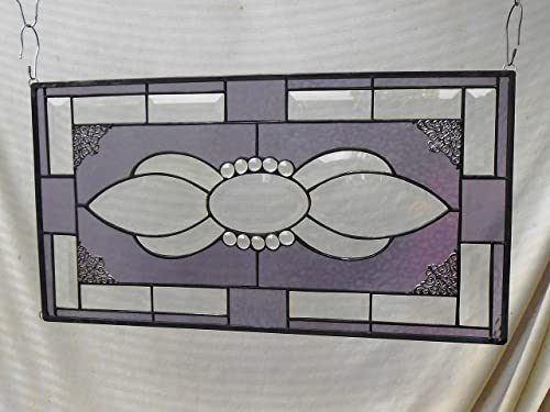 Unique Beveled Glass Panel, Antique Look Stained Glass Window Valance, Stained Glass Transom Window Panel