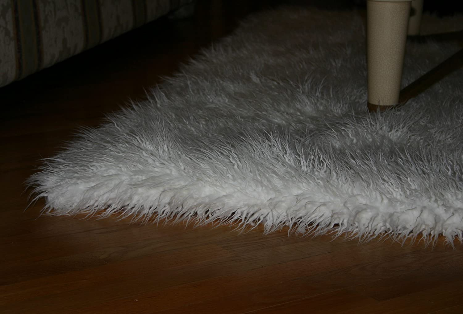 amazoncom fur accents faux fur area rug thick shag mongolian sheepskin rectangle kitchen u0026 dining - Faux Fur Rugs