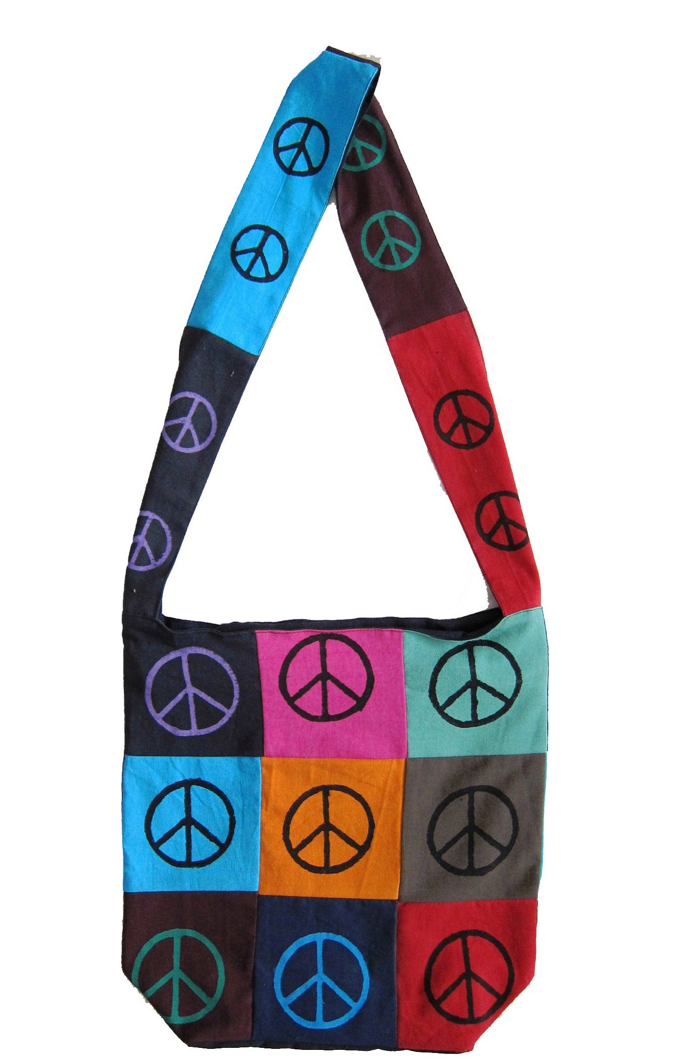 Peace Sign Bag Hobo Cotton Bag Fabric Bags Shoulder Bags for Shopping Work School Tote Bag Flat Bottom 15 x 12 inches (Red, Black, Blue, Pink, Orange)