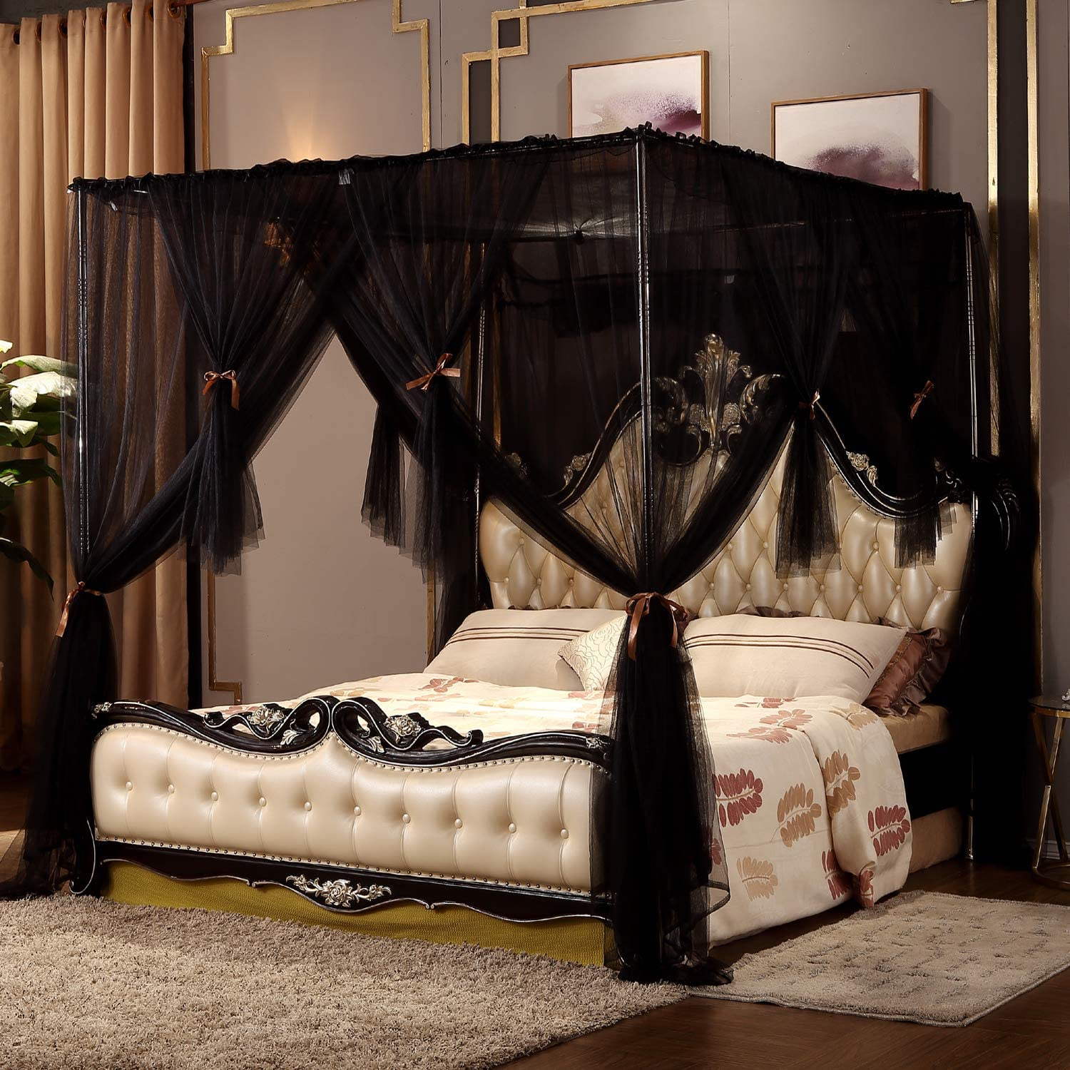 - Amazon.com: Nattey 4 Corners Post Canopy Bed Curtain For Girls