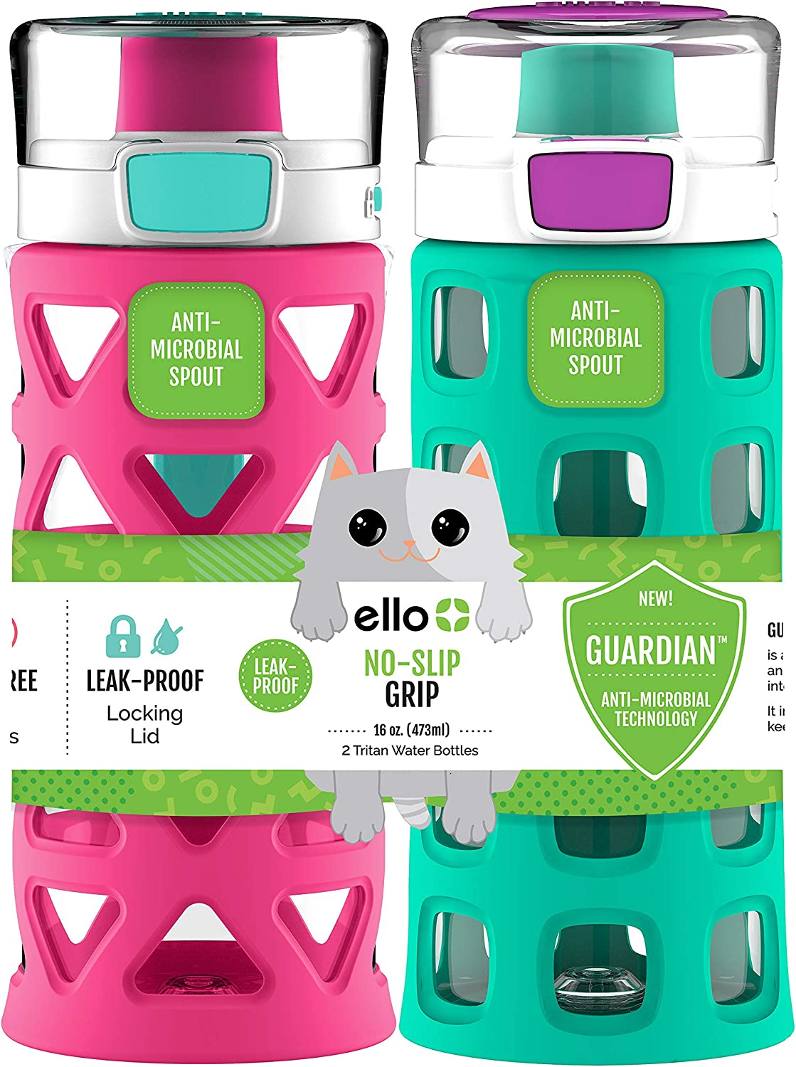 Ello Dash Kids Water Bottle 16oz. Tropic Pink//Mint 2pk
