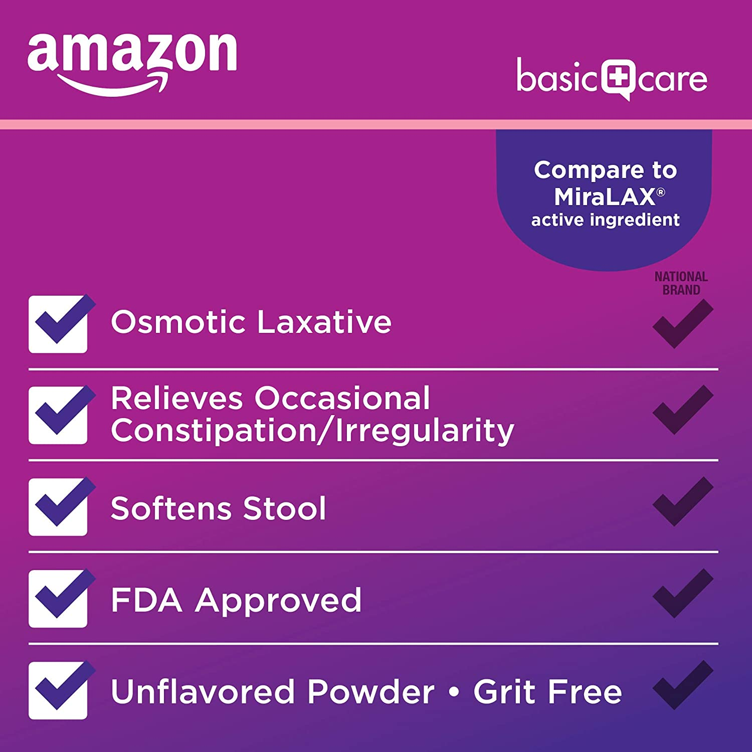 Basic Care ClearLax, Polyethylene Glycol 3350 Powder for Solution, Osmotic Laxative, 26.9 Ounce: Health & Personal Care