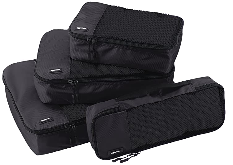The AmazonBasics four-piece set includes a slim (2.8 by 14 by 5 inches), small (11 by 6.75 by 3 inches), medium (13.75 by 9.75 by 3 inches), and large (17.5 by 12.75 by 3.25 inches) packing cube.