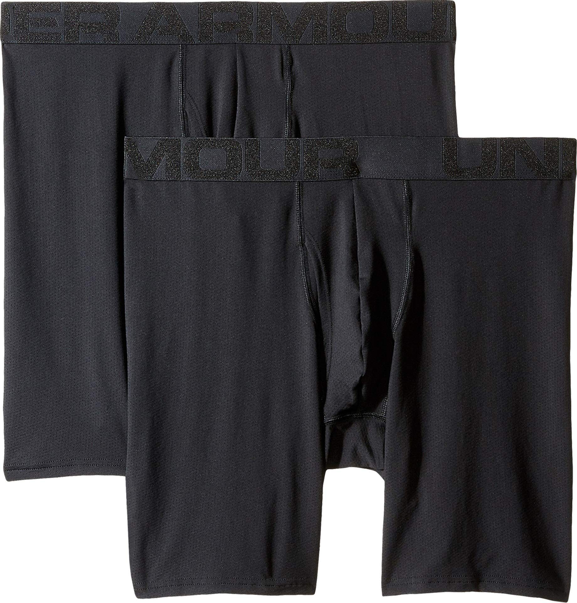 Under Armour Men's Tech Mesh 9'' Boxerjock Boxer Briefs - 2 Pack, Black//Jet Gray Light Heather, Medium by Under Armour