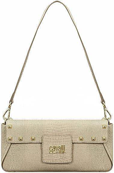 6cfb500776bb Class Roberto Cavalli Leather Snake Effect Clutch Bag Beige: Amazon ...