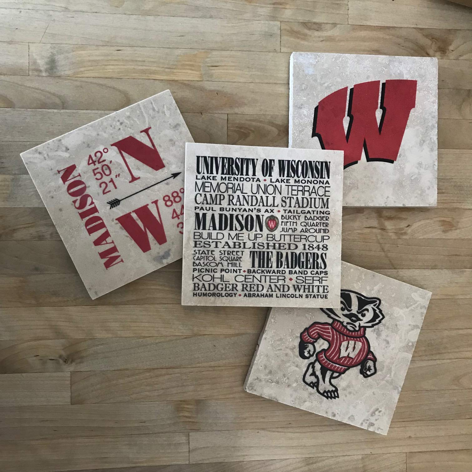 University of Wisconsin Marble Coasters - Set of 4