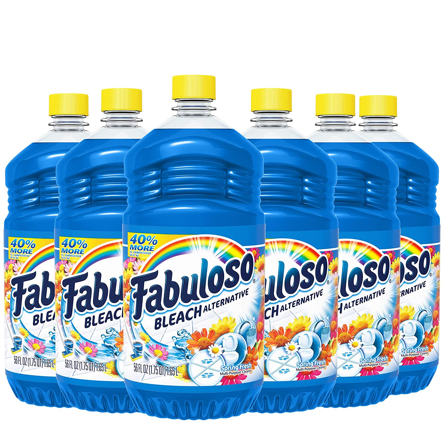 FABULOSO All-Purpose Cleaner with Bleach Alternative, Spring Fresh, Bathroom Cleaner, Toilet Cleaner, Floor Cleaner, Shower and Glass Cleaner, Mop Cleanser, 56 Fluid Ounce (Case of 6 Bottles) (153099)
