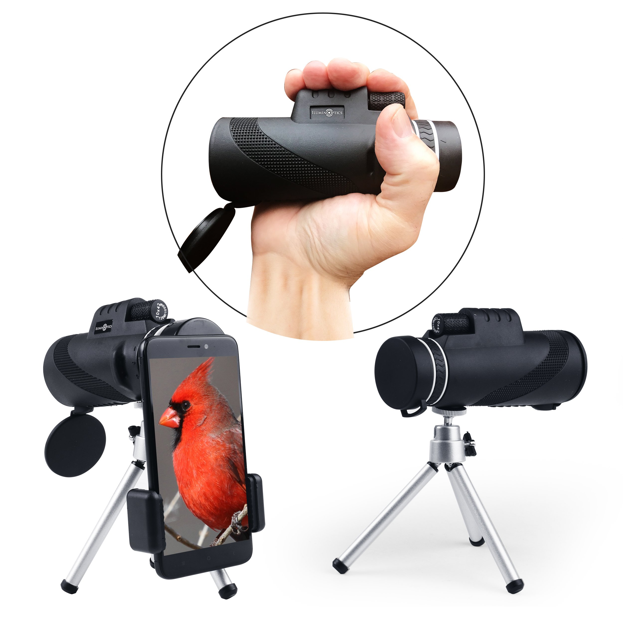 10X42 High Power Prism Monocular. HD-Wide View-Waterproof-Fog Proof-Monocular Telescope with BAK4 Lens+Fast Smartphone Adaptor-Tripod-Strap & Case for Hunting-Hiking-Bird Watching-Sports-Surveil by ILuminOptics