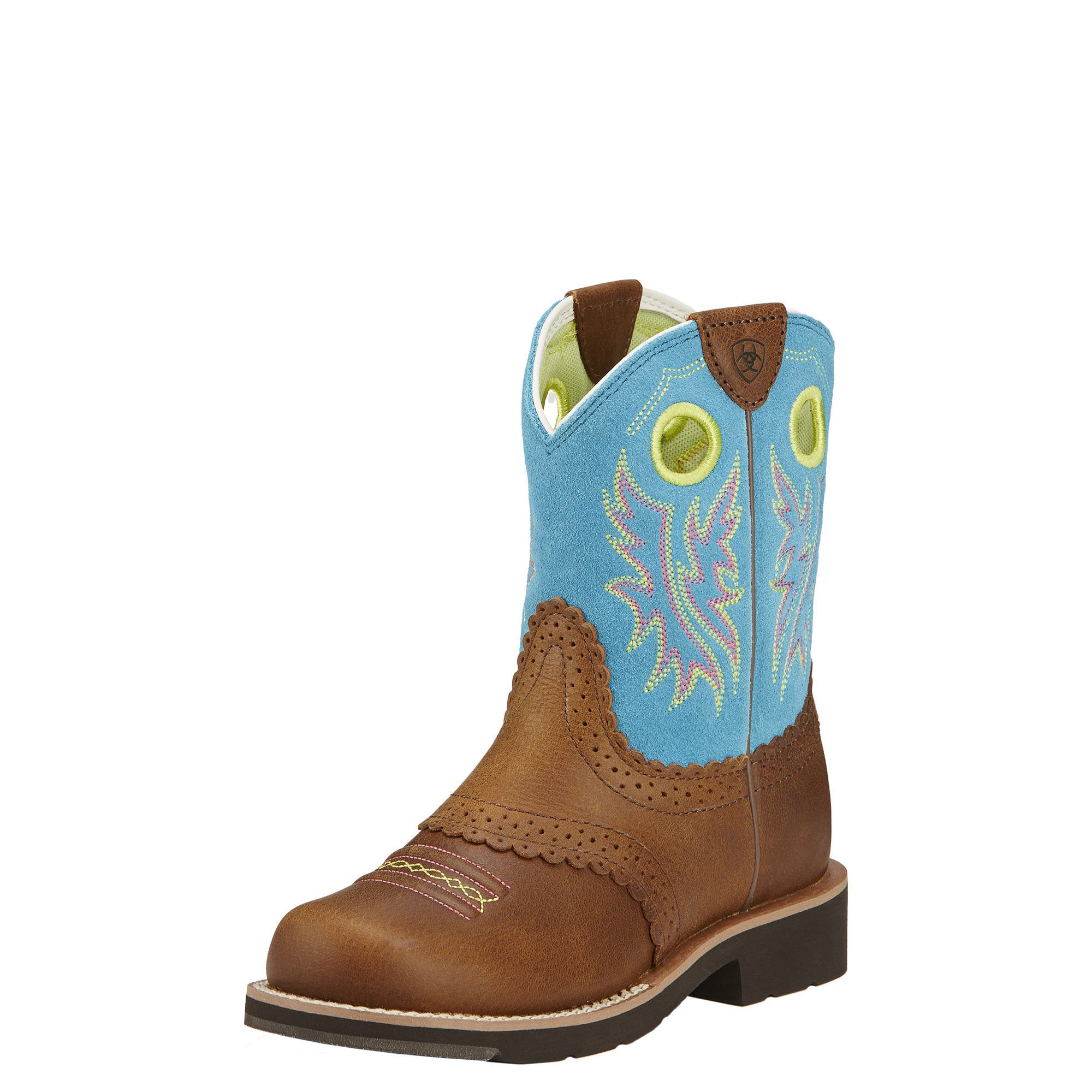 Ariat Kids' Fatbaby Cowgirl Western Cowboy Boot, Black Country Tan/Bright Blue, 4.5 M US Big Kid