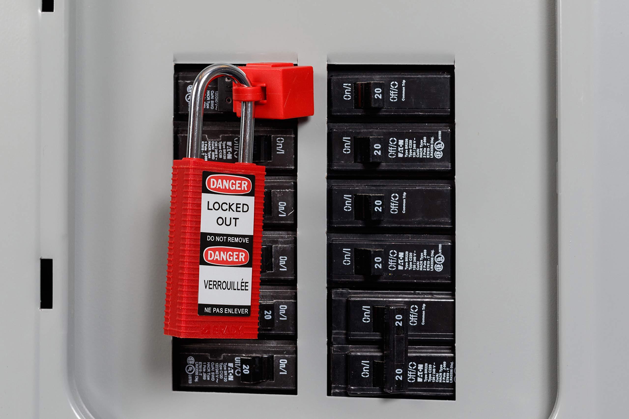 Brady 123414 Lockout Padlock, Keyed Alike, 1/4'', Red