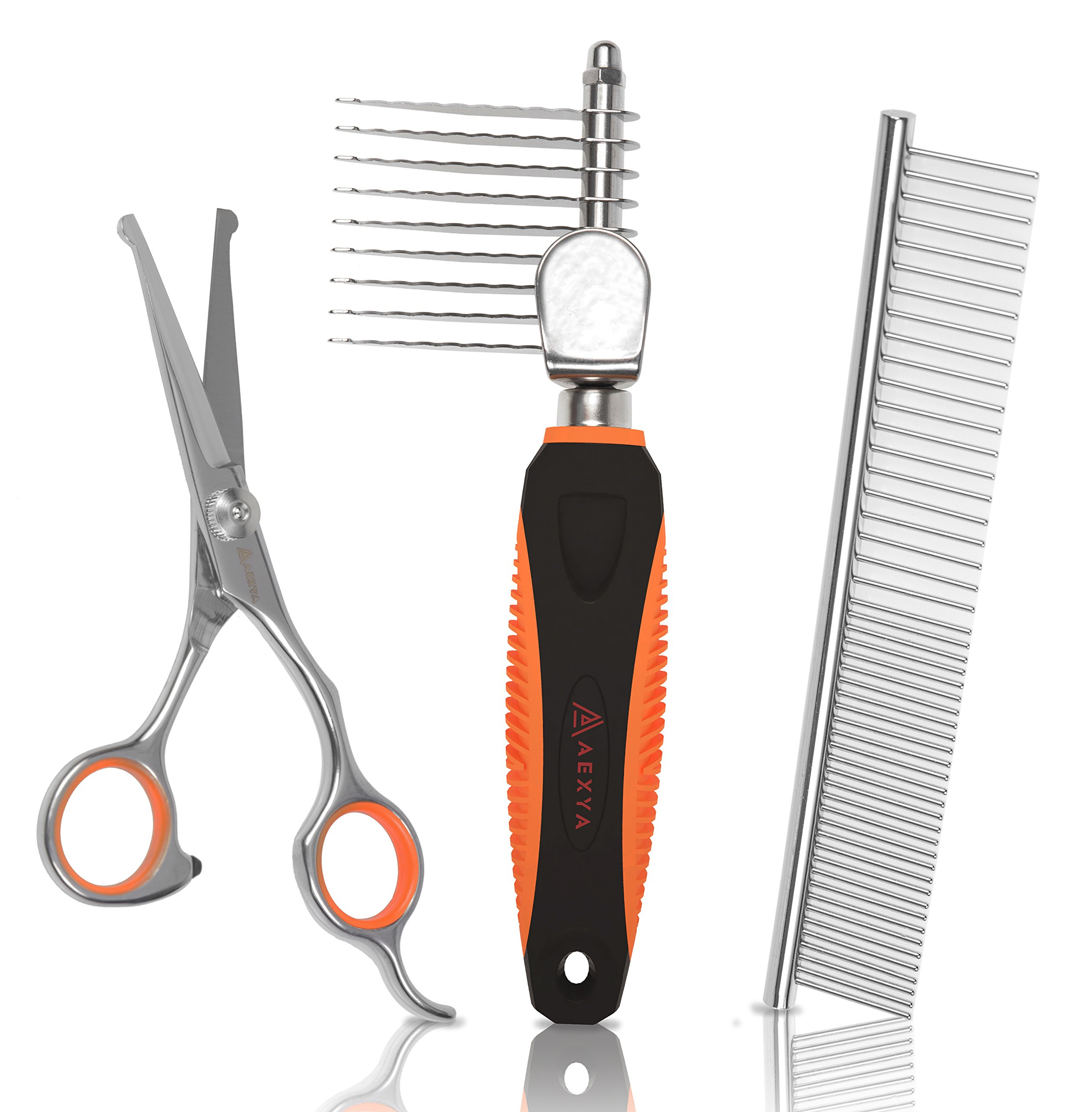 AEXYA Premium Dog Dematting Tools Comb Scissors Set - Undercoat Tangles Deshedding Tool for Cats and Dogs – Safe and Easy Mats Remover Rake
