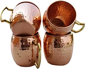 STREET CRAFT Set of 4 Handmade Solid Copper Mug Hammered Pure Copper Moscow Mule Mugs with Brass Handle Capacity 16 Oz