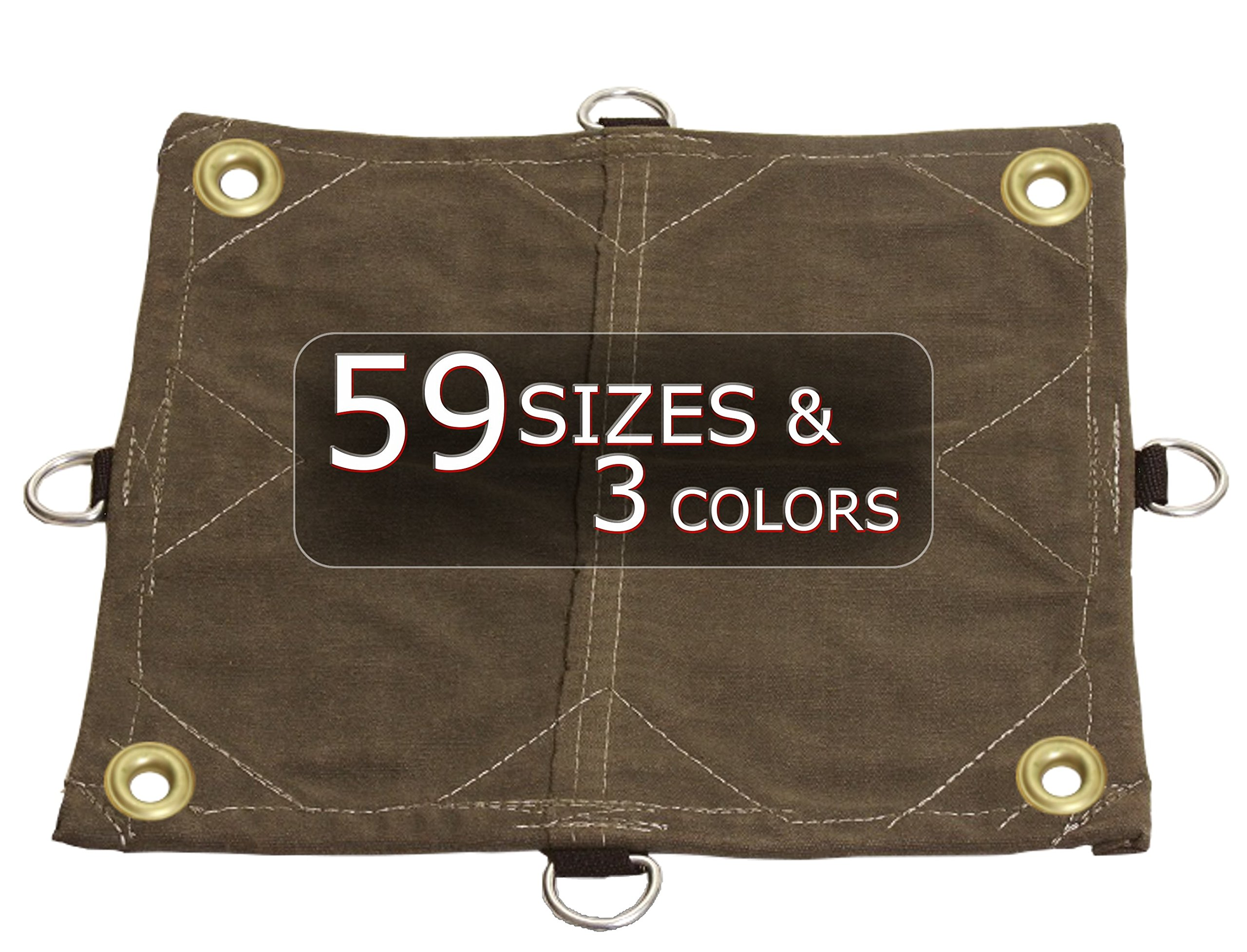20x40 12oz Heavy Duty Canvas Tarp with D-Rings and Corner Grommets - Extreme Performance - Equipment, Farm, Home, Woodpile, Construction, Machinery Cover.